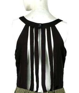 139 White Chocolate Pleated Stripe Black Tunic Shift Dress Small S 4