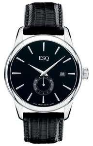 ESQ by Movado Mens 07301371 Chronicle Black Leather Strap Black Dial