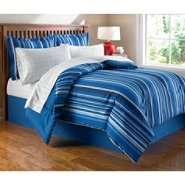 Essential Home Complete Bed Set   Blue Stripe