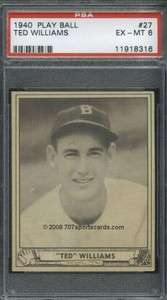 1940 Play Ball 27 Ted Williams PSA 6 (8316)