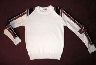 FILA Vintage 80s Padded Red White Blue Stripe SKI SWEATER Bjorn Borg