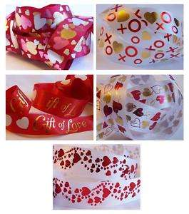 Love & Hearts Foil Stamped Ribbon ~ BTY