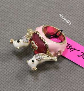 Betsey Johnson ROSE GARDEN jeweled love bird heart ring
