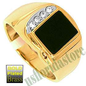 Mens Jet Black Onyx 4 CZ Stones Gold Plated Tutone Ring