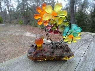 VTG 1960s Retro Groovy LUCITE ACRYLIC Flower Power Mushroom MOD Orange