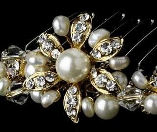 Austrian Crystals & Pearl Bridal Hair Pin Comb
