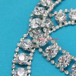 couture clothing bridal applique rhinestone crystal silver chain