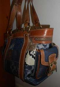 COACH PATCHWORK BAG 10002 Blue Denim Leather $348 Retail Shoulder
