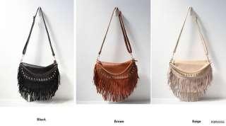 Real Cow Leather Fringe Golden Studs Crossbody Shoulder Bags Handbags