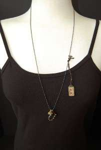 New JUICY COUTURE Hematite Good Luck 3 Charm Necklace in Box $68