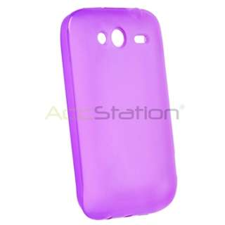 For HTC Wildfire S Purple Rubber TPU Gel Case Cover+Screen Protector