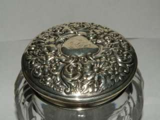 AMERICAN BRILLIANT CUT GLASS DRESSER JAR STERLING REPOUSSE LID