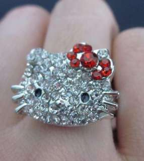 adjustable cute hello kitty crystal red bow ring K14