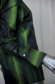 GUCCI Multi Green+Black Stripe *SILK* Button Down Dress Shirt Blouse