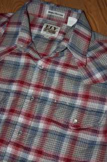 plaid WESTERN pearl snap shirt * vtg cowboy