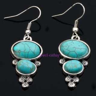 oval blue turquoise bead tibet silver dangle earrings