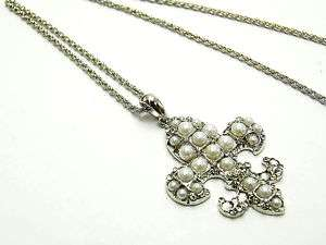 LARGE SILVER WITH PEARLS FLEUR DI LIS CROSS NECKLACE