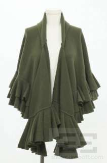 Ralph Lauren Collection Olive Green Cashmere Ruffled Shawl Size M/L
