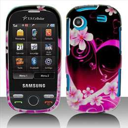 Samsung Messenger Touch R630 Pink Heart Hard Case Cover