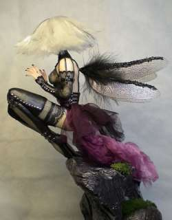 OOAK Goth Vampire Fairy, Art Doll Sculpture, Barbara Kee OAD IADR