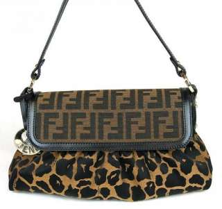 Authentic FENDI Zucca Leopard Animal Print Flap Hand Bag Purse #2503