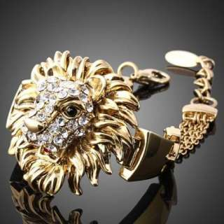 ARINNA Swarovski Crystal Lion Gold GP Linked Bracelet