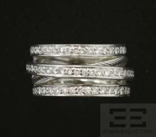 Charriol 18K White Gold Multiband Diamond Ring Size 6.75