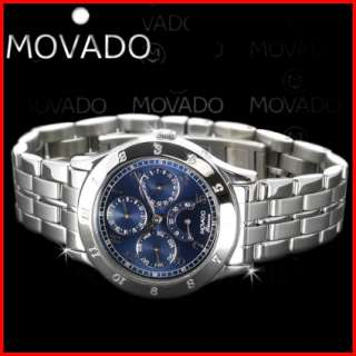 Movado Tempomatic Men Day Date Blue SS Automatic Watch