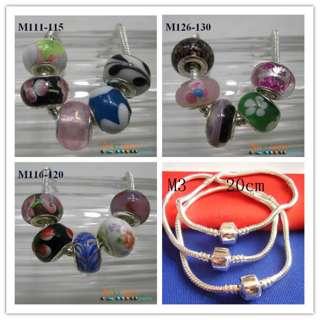 Mix Authentic Murano Lampwork Glass Beads & Charm European Snake Chain