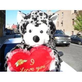 GIANT 60 TEDDY BEAR HOLDING I LOVE YOU HEART   COLOR BLACK AND GRAY