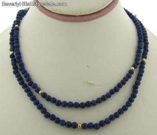 Beautiful Vintage 14k Gold Lapis Asian Beaded Necklace