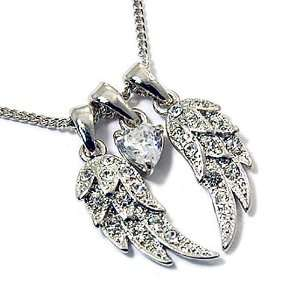 com Silvertone Crystal Wing Pendant Necklace Fashion Jewelry Jewelry