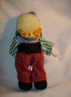 clown doll fabric clothes porcelain head sawdust body 8 1/2