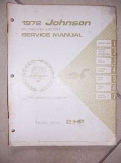 1972 Johnson Outboard Motor Service Manual 2 HP 2R72 v