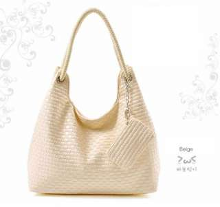 Womens PU Leather Woven Fashionable Zipper Party Hand Bag