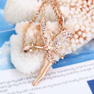 N57 18K rose Gold plated white gem Swarovski crystal angel Necklace