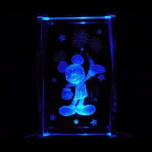Mickey Mouse 3D Laser Etched Crystal includes Two Separate