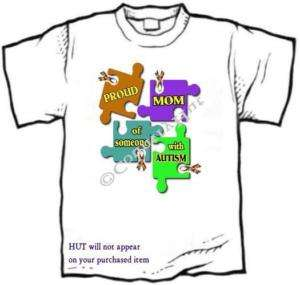 Shirt   Autism Awareness PROUD MOM, Dad puzzle ribbon