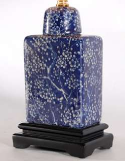 High Dark Blue & White Small Rectangular Porcelain Table Lamp