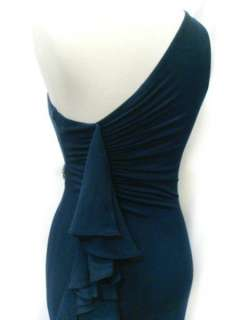 SKY Brand One Shoulder Crystal Belt Midnight Blue Dress