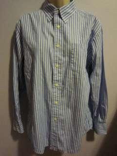 Ralph Lauren Wmns Blue Striped Button Down Oxford Career LS Shirt Sz