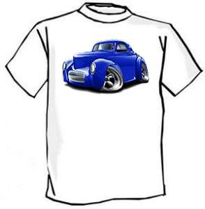 1941 Willys Hot Rod Muscle Car toon Tshirt NEW