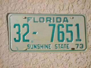 1973 Florida License Plate Tag un issued