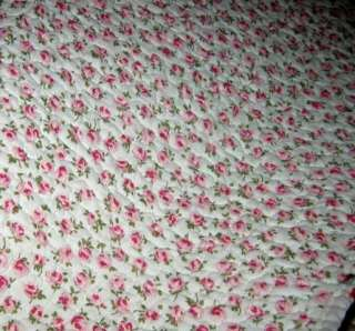 PINK ROSES Cotton REVERSIBLE to ROSEUDS Full/Queen Quilt/Shams SET~NIP