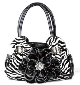 Black Zebra Flower Rhinestone Purse Handbag