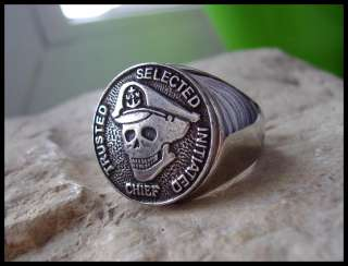 AJS © USN NAVY RING CHIEF SKULL ARMY SURGICAL STEEL D26