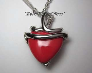 GUESS Exclusive Scarlet Snake Red Heart Necklace Collier Rhinestones