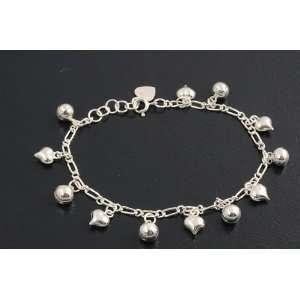 Sterling Silver Heart & Bell Charm Bracelet Jewelry