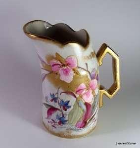 Victorian Antique Royal Bonn Milk Pitcher HP ORCHIDS Franz Anton