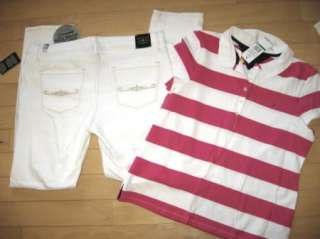 White Low Rise Jeans + Tommy Hilfiger Summer Top SIZE 14